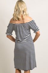 Navy Blue Striped Ruffle Off Shoulder Maternity Dress