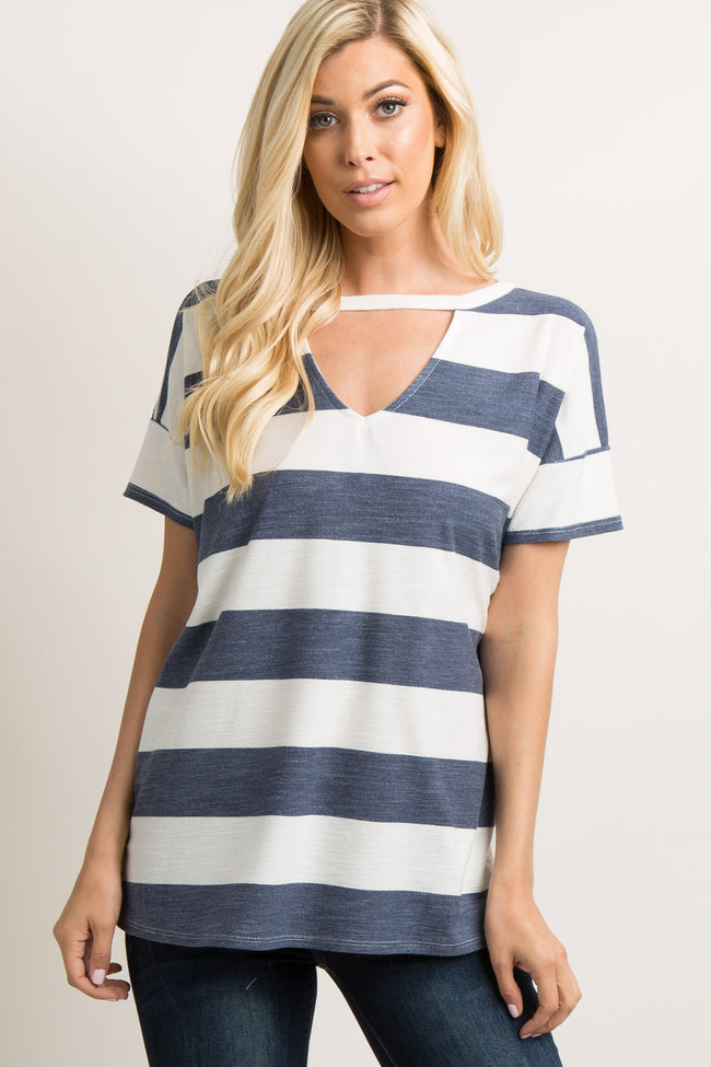 Navy Striped Cutout Front Dolman Sleeve Top