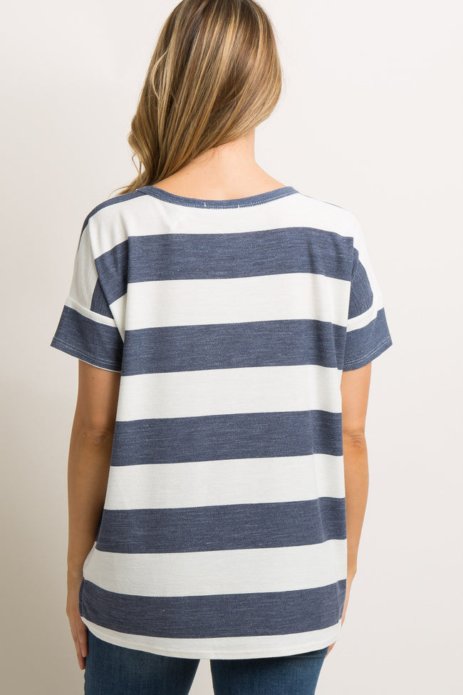 Navy Striped Cutout Front Dolman Sleeve Maternity Top