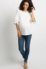 White Polka Dot Layered Ruffle Sleeve Maternity Top