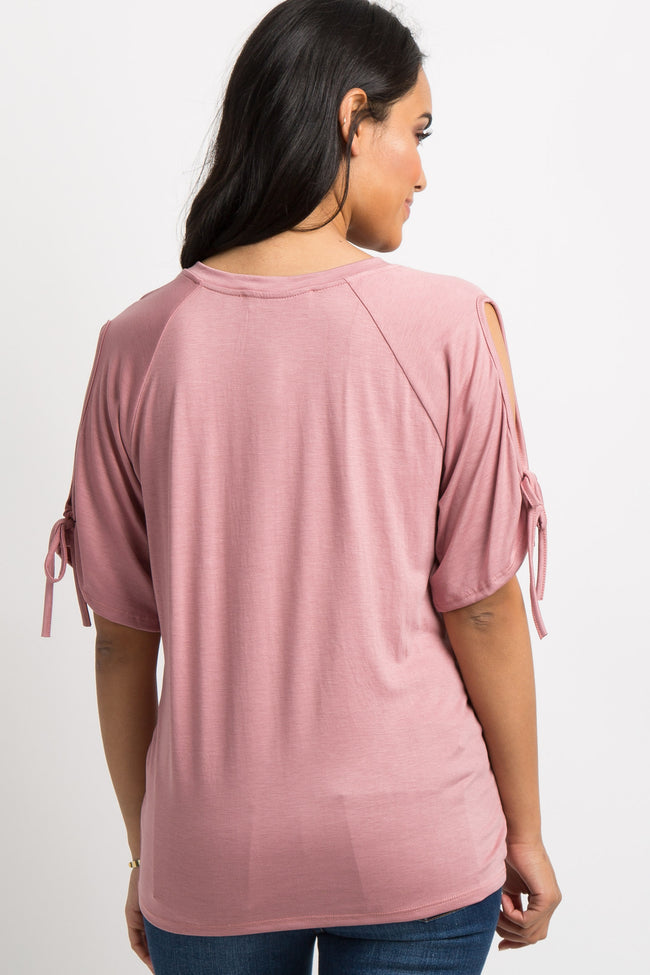 Pink Solid Cutout Sleeve Tie Maternity Top