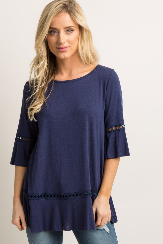 Navy Blue Raw Cut Hem Crochet Accent Top