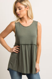 Green Crochet Sleeveless Peplum Top