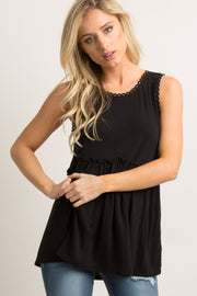Black Crochet Sleeveless Peplum Top
