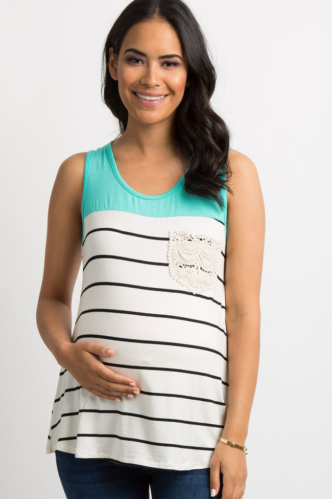 Mint Green Colorblock Striped Crochet Pocket Maternity Top