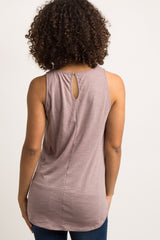 Mauve Cutout Embroidered Maternity Tank Top