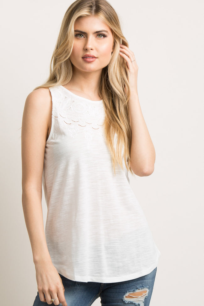 Ivory Cutout Embroidered Tank Top