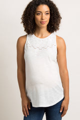 Ivory Cutout Embroidered Maternity Tank Top