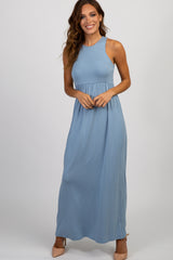 Light Blue Solid Sleeveless Maternity Maxi Dress