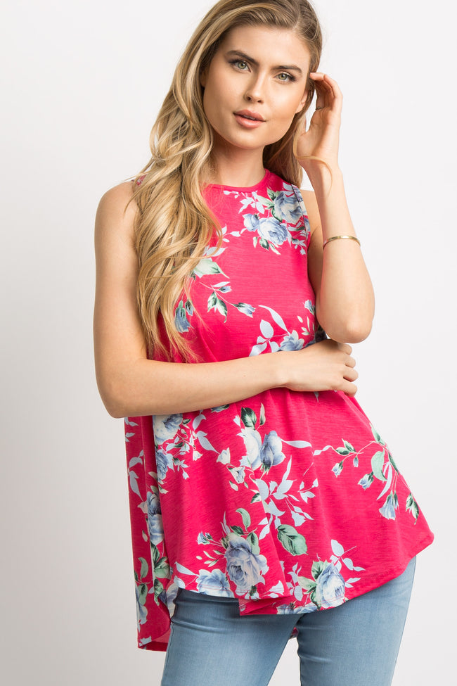 Fuchsia Floral Sleeveless Maternity Top