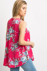 Fuchsia Floral Sleeveless Top