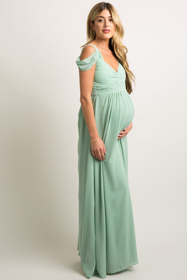 Mint Chiffon Pleated Open Shoulder Maternity Evening Gown