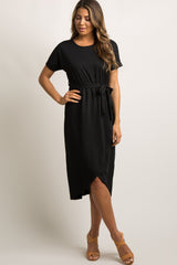 Black Sash Tie Wrap Hem Maternity Midi Dress