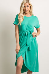 Jade Sash Tie Wrap Hem Midi Dress