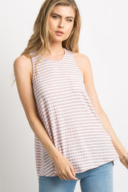 Mauve Striped Knit Racerback Tank Top
