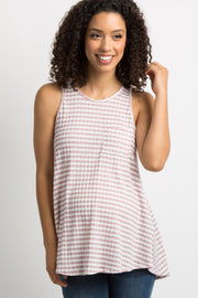 Mauve Striped Knit Racerback Maternity Tank Top