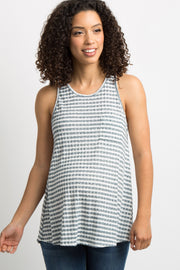 Blue Striped Knit Racerback Maternity Tank Top