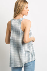 Blue Striped Knit Racerback Tank Top