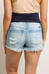 Light Blue Destroyed Fringe Trim Maternity Denim Shorts