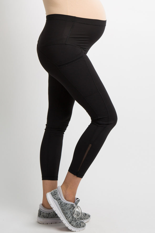 Black Mesh Insert Side Pocket Maternity Leggings