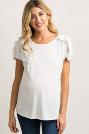 White Solid Ruched Ruffle Sleeve Maternity Top