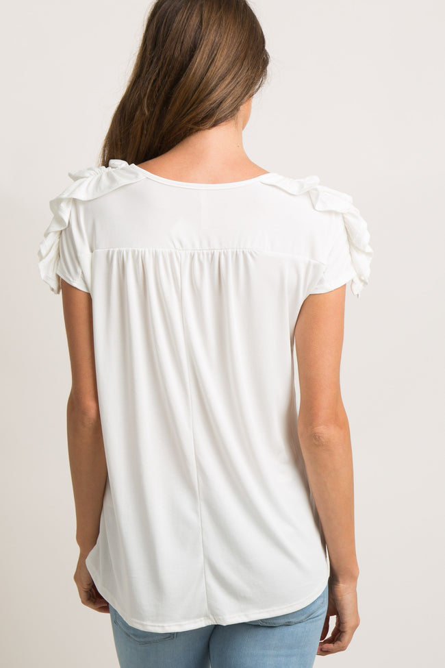 White Solid Ruched Ruffle Sleeve Top