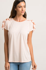 Pink Solid Ruched Ruffle Shoulder Top