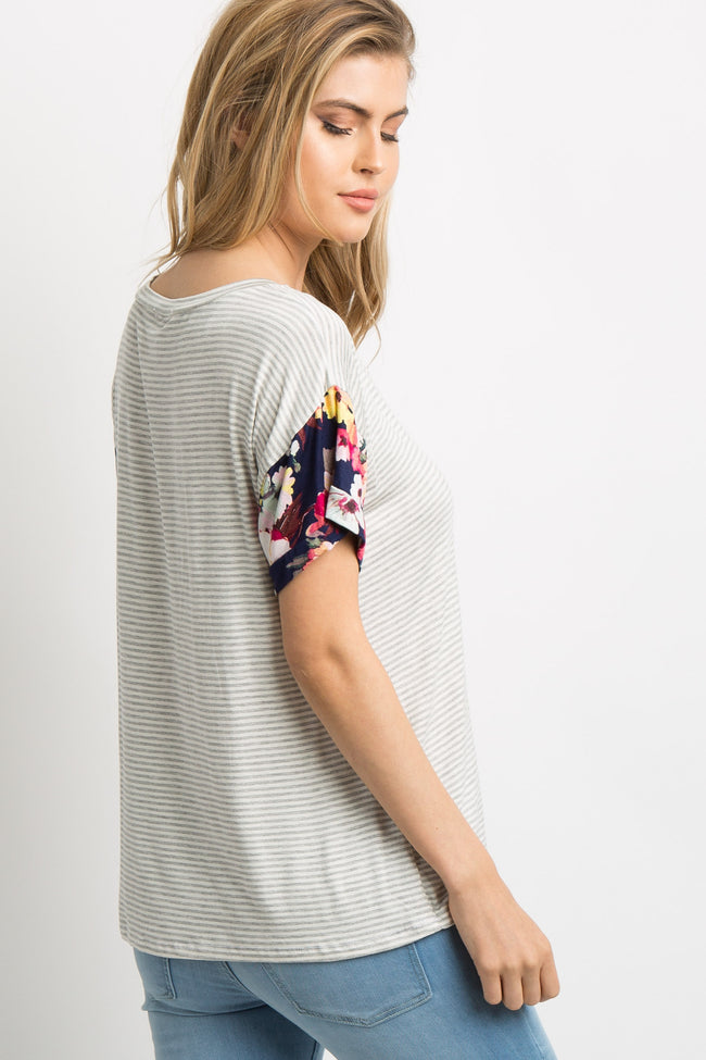 Navy Blue Striped Floral V-Neck Top