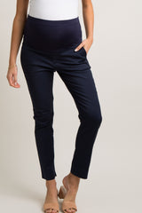 Navy Blue Fitted Maternity Dress Pants
