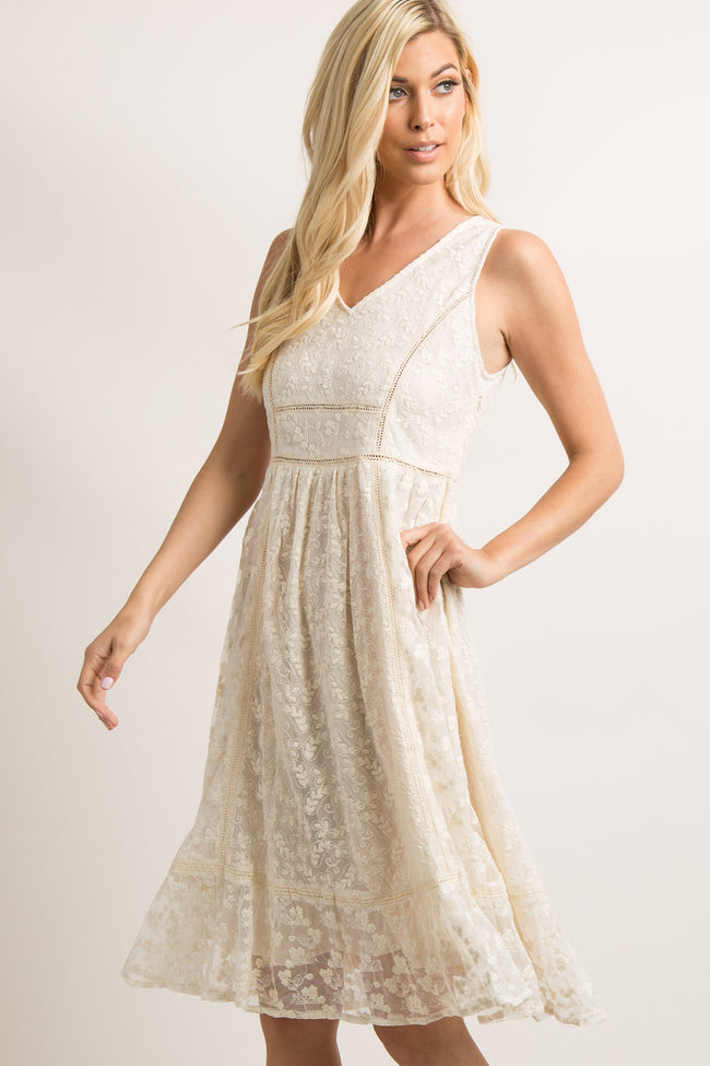 Ivory Lace Overlay Crochet Accent Maternity Midi Dress