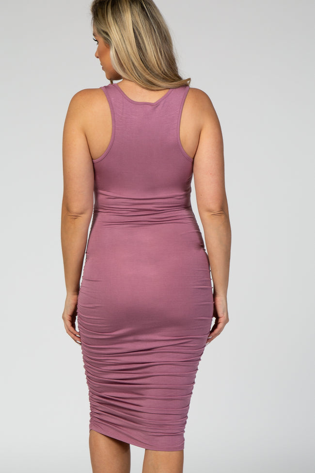Mauve Solid Ruched Fitted Maternity Bodycon Midi Dress
