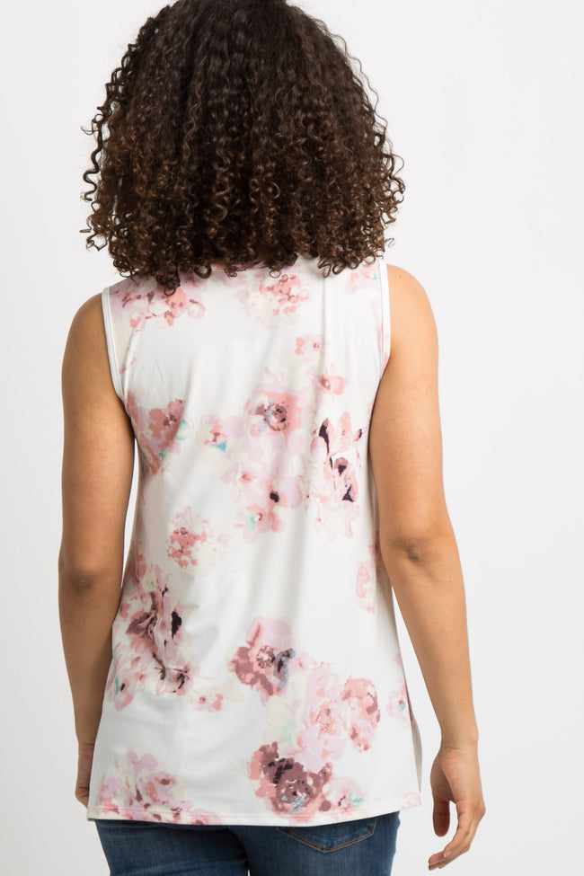Ivory Watercolor Floral Sleeveless Maternity Top