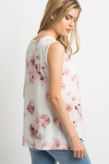 Ivory Watercolor Floral Sleeveless Top