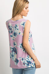Purple Watercolor Floral Sleeveless Top