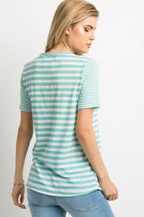 Mint Green Striped Pocket Accent Top
