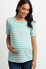 Mint Green Striped Pocket Accent Maternity Top