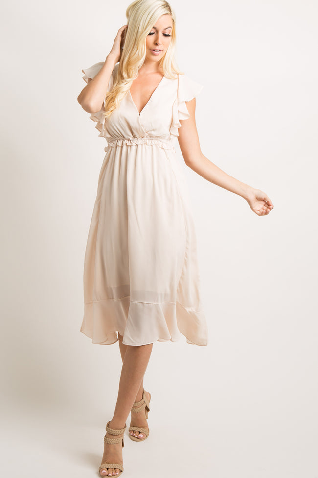 Cream Chiffon Butterfly Sleeve Maternity Midi Dress