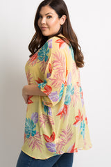 Yellow Tropical Palm Leaf Plus Maternity Poncho Top