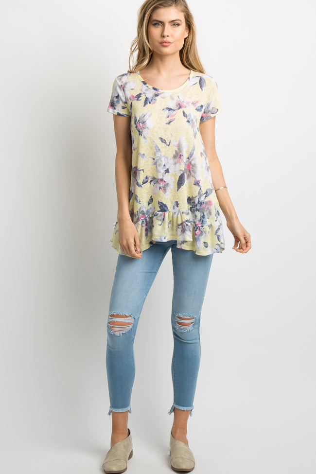 Yellow Floral Ruffle Trim Knit Tunic