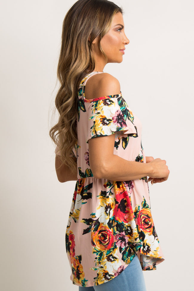 Light Pink Floral Cold Shoulder Peplum Top