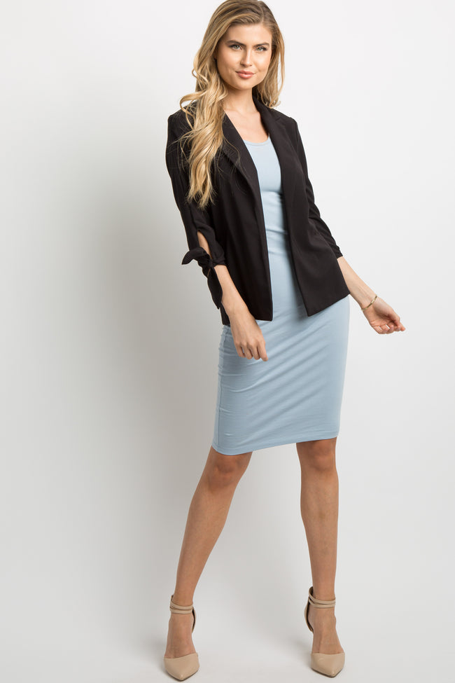 Black Solid Cutout Sleeve Tie Maternity Blazer