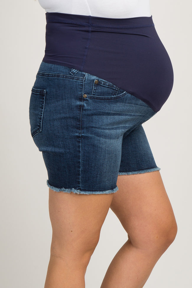 Blue Solid Frayed Maternity Plus Jean Shorts