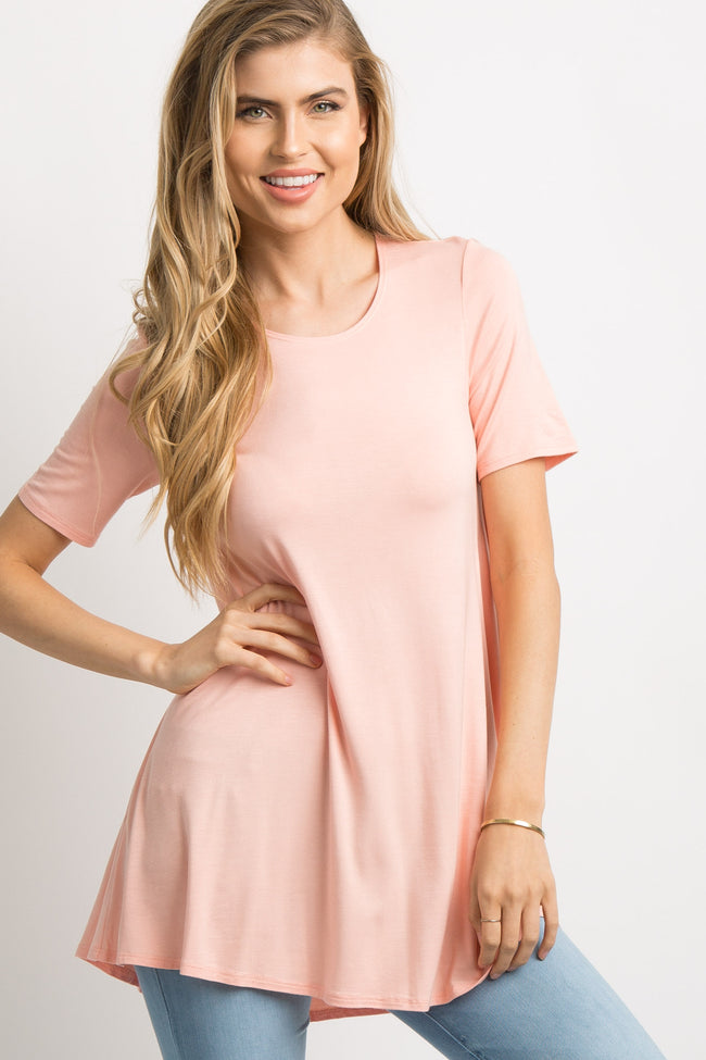 Peach Basic Short Sleeve Maternity Top