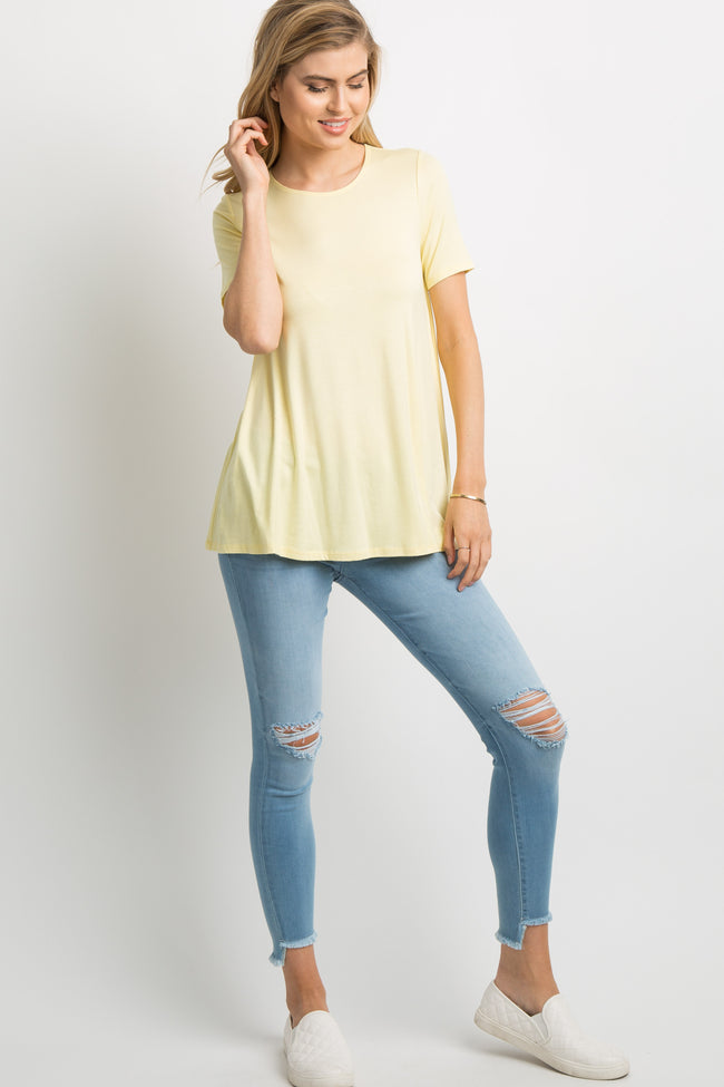 Yellow Basic Short Sleeve Top