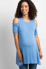 Periwinkle Basic Cold Shoulder Maternity Tunic