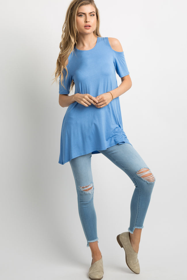 Periwinkle Basic Cold Shoulder Tunic
