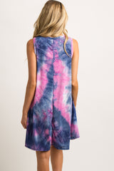 Fuchsia Green Sleeveless Tie Dye Maternity Dress