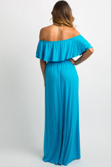 Turquoise Off Shoulder Ruffle Trim Maxi Dress