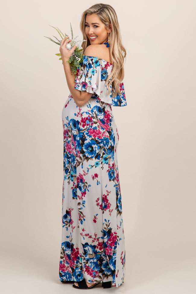PinkBlush Ivory Floral Ruffle Off Shoulder Maternity Maxi Dress