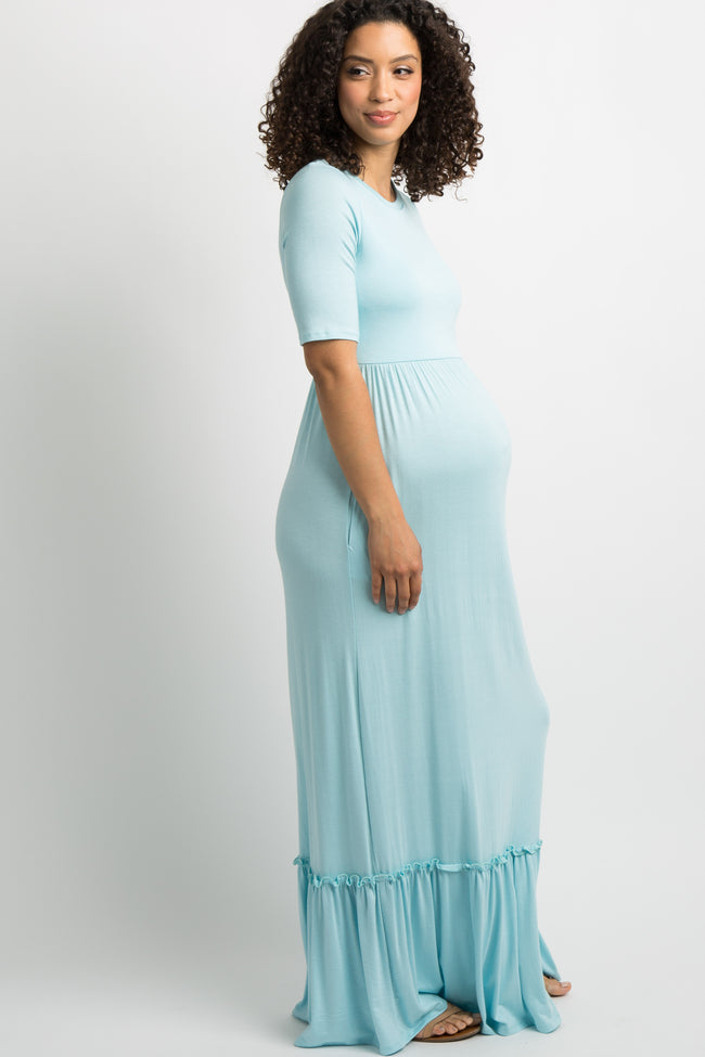 Light Blue Solid Ruffle Trim Maternity Maxi Dress